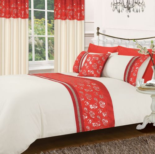 RED & CREAM COLOUR STYLISH MATALLIC FLORAL DIAMANTE DUVET COVER LUXURY BEAUTIFUL GLAMOUR BEDDING